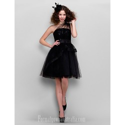 Australia Formal Dresses Cocktail Dress Party Dress Black Plus Sizes Dresses Petite A Line Princess Sexy One Shoulder Short Knee Length Tulle