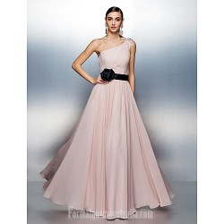 Dress Blushing Pink Plus Sizes Dresses Petite A Line Sexy One Shoulder Long Floor Length Chiffon