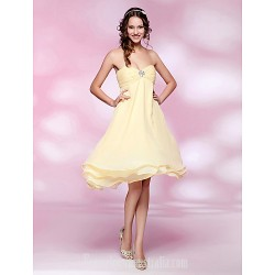 Australia Formal Dresses Cocktail Dress Party Dress Wedding Party Dress Daffodil Plus Sizes Dresses Petite A-line Princess Strapless Sweetheart Short Knee-length Chiffon