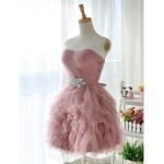 Short Knee-length Tulle Bridesmaid Dress Pearl Pink Ball Gown Sweetheart Formal Dress Australia