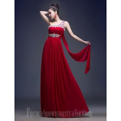 Australia Formal Dress Evening Gowns Burgundy Plus Sizes Dresses A-line Sexy One Shoulder Long Floor-length Georgette