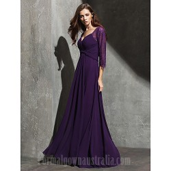 Australia Formal Evening Dress Grape Plus Sizes Dresses Petite A-line Sweetheart Long Floor-length Lace Dress Georgette