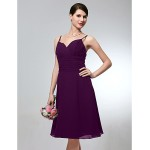 Wedding Party Dress Grape Plus Sizes Dresses Petite A-line Spaghetti Straps Short Knee-length Chiffon Formal Dress Australia
