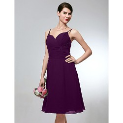 Wedding Party Dress Grape Plus Sizes Dresses Petite A-line Spaghetti Straps Short Knee-length Chiffon