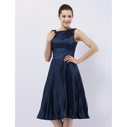 Australia Formal Dresses Cocktail Dress Party Dress Wedding Party Dress Dark Navy Plus Sizes Dresses Petite A-line Princess Bateau Short Knee-length Stretch Satin