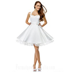 Australia Formal Dresses Cocktail Dress Party Dress Ivory A Line Sweetheart Short Knee Length Satin