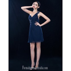 Wedding Party Dresses Australia Formal Dresses Cocktail Dress Party Dress Homecoming Dress Dark Navy Plus Sizes Dresses Petite A-line Sexy One Shoulder Short Knee-length Chiffon