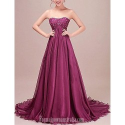 Australia Formal Dress Evening Gowns Grape Petite A Line Strapless Court Train Chiffon