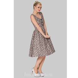 Australia Formal Dresses Cocktail Dress Party Dress Print Plus Sizes Dresses A-line V-neck Short Knee-length Cotton