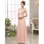 Australia Formal Dress Evening Gowns Blushing Pink Ball Gown Strapless Long Floor-length Chiffon Formal Dress Australia