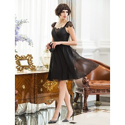 Australia Cocktail Party Dresses Holiday Dress Black Plus Sizes Dresses Petite A-line Straps Short Knee-length Chiffon