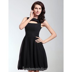 Australia Semi Formal Cocktail Dress Party Dresses Holiday Dress Black Plus Sizes Dresses Petite A-line Princess Bateau Short Knee-length Chiffon