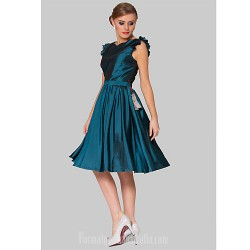 Australia Formal Dresses Cocktail Dress Party Dress Ink Blue Plus Sizes Dresses A-line Jewel Short Knee-length Taffeta
