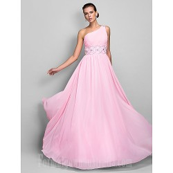 Australia Formal Dress Evening Gowns Prom Gowns Military Ball Dress Candy Pink Plus Sizes Dresses Petite A-line Sexy One Shoulder Long Floor-length Chiffon