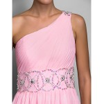 Australia Formal Dress Evening Gowns Prom Gowns Military Ball Dress Candy Pink Plus Sizes Dresses Petite A-line Sexy One Shoulder Long Floor-length Chiffon Formal Dress Australia