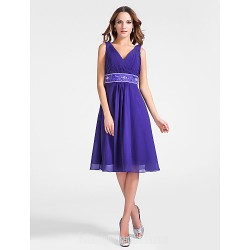 Australia Cocktail Party Dress Regency Plus Sizes Dresses Petite A-line Princess V-neck Short Knee-length Chiffon