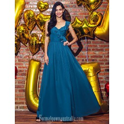 Australia Formal Dress Evening Gowns Ink Blue A-line V-neck Ankle-length Georgette