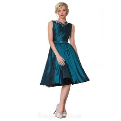 Australia Formal Dresses Cocktail Dress Party Dress Fuchsia Ruby Dark Navy Sage Clover Chocolate Black Plus Sizes Dresses A Line Bateau Short Knee Length Taffeta