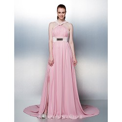 Prom Gowns Australia Formal Dress Evening Gowns Holiday Dress Blushing Pink Plus Sizes Dresses Petite A-line Straps Chapel Train Chiffon