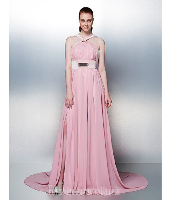 Prom Gowns Australia Formal Dress Evening Gowns Holiday Dress Blushing Pink Plus Sizes Dresses Petite A-line Straps Chapel Train Chiffon Formal Dress Australia