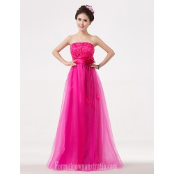 Long Floor-length Bridesmaid Dress Fuchsia A-line Strapless