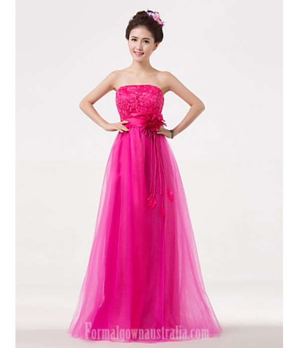 Long Floor-length Bridesmaid Dress Fuchsia A-line Strapless Formal Dress Australia