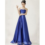 Australia Formal Dress Evening Gowns Royal Blue Plus Sizes Dresses A-line Sweetheart Long Floor-length Stretch Satin Formal Dress Australia
