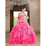 Ball Gown Sweetheart Long Floor-length Organza Dress With Ruffles Formal Dress Australia