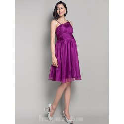 Short Knee Length Chiffon Bridesmaid Dress Grape Maternity A Line Princess Straps