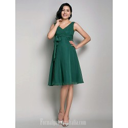 Short Knee Length Chiffon Bridesmaid Dress Dark Green Maternity A Line Princess V Neck