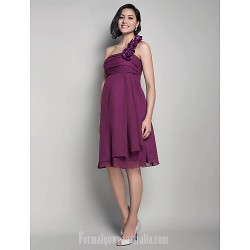 Short Knee Length Chiffon Bridesmaid Dress Grape Maternity A Line Princess Sexy One Shoulder