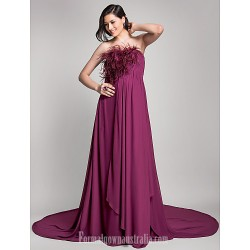 Australia Formal Dress Evening Gowns Grape Maternity A Line Strapless Court Train Chiffon