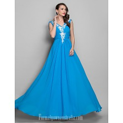 Australia Formal Dress Evening Gowns Prom Gowns Military Ball Dress Ocean Blue Plus Sizes Dresses Petite A Line Princess V Neck Long Floor Length Chiffon