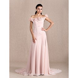 Australia Formal Dress Evening Gowns Pearl Pink Plus Sizes Dresses Petite A-line Princess Off-the-shoulder Court Train Chiffon