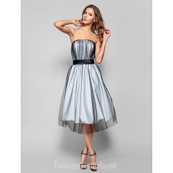 Australia Formal Dresses Cocktail Dress Party Dress Holiday Homecoming Dress Silver Plus Sizes Dresses Petite A Line Strapless Short Knee Length Tulle