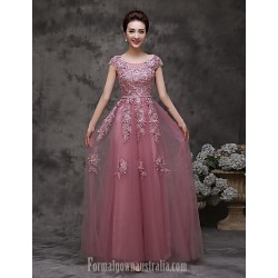 Australia Formal Dress Evening Gowns Pearl Pink A-line Bateau Long Floor-length Tulle Dress