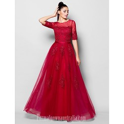 Australia Formal Dress Evening Gowns Burgundy Plus Sizes Dresses Petite A-line Jewel Long Floor-length Tulle Dress