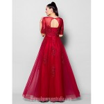 Australia Formal Evening Dress Burgundy Plus Sizes Dresses Petite A-line Jewel Long Floor-length Tulle Dress Formal Dress Australia