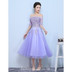 Australia Formal Dress Evening Dress-Lilac A-line Bateau Tea-length Tulle