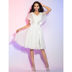 Australia Cocktail Party Dresses Holiday Graduation Dress Ivory Plus Sizes Dresses Petite A-line Princess V-neck Short Knee-length Chiffon
