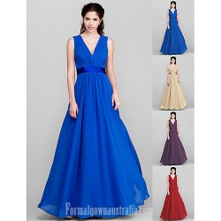 Long Floor Length Chiffon Bridesmaid Dress Royal Blue Ruby Champagne Grape Plus Sizes Dresses Petite A Line V Neck