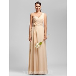 Long Floor-length Chiffon Bridesmaid Dress Champagne Apple Hourglass Inverted Triangle Pear Rectangle Plus Sizes Dresses Petite Misses