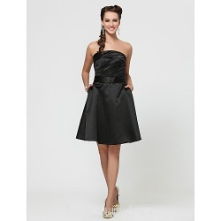 A-line Short Knee-length Satin Bridesmaid Dress