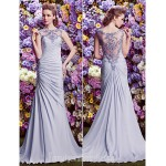 Australia Formal Dress Evening Gowns Lavender A-line Bateau Court Train Satin Chiffon Formal Dress Australia