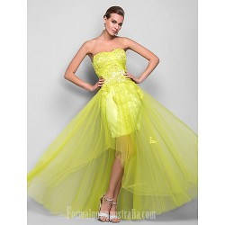 Australia Formal Dress Evening Gowns Prom Gowns Military Ball Dress Daffodil Plus Sizes Dresses Petite A-line Princess Strapless Long Floor-length Satin Tulle