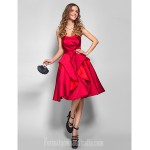 Australia Cocktail Party Dresses Holiday Dress Burgundy Plus Sizes Dresses Petite A-line Strapless Short Knee-length Satin Formal Dress Australia