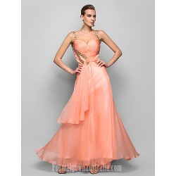 Australia Formal Evening Dress Prom Gowns Military Ball Dress Pearl Pink Plus Sizes Dresses Petite A-line Princess Straps Long Floor-length Chiffon