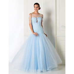 Australia Formal Dress Evening Gowns Prom Gowns Military Ball Dress Sky Blue Plus Sizes Dresses Petite A-line Princess Jewel Long Floor-length Tulle Dress