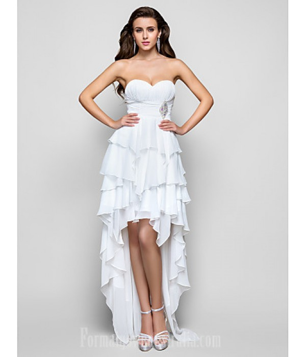 Australia Formal Dress Evening Gowns Prom Dress Ivory Plus Sizes Dresses Petite A-line Princess Strapless Sweetheart Asymmetrical Chiffon Formal Dress Australia