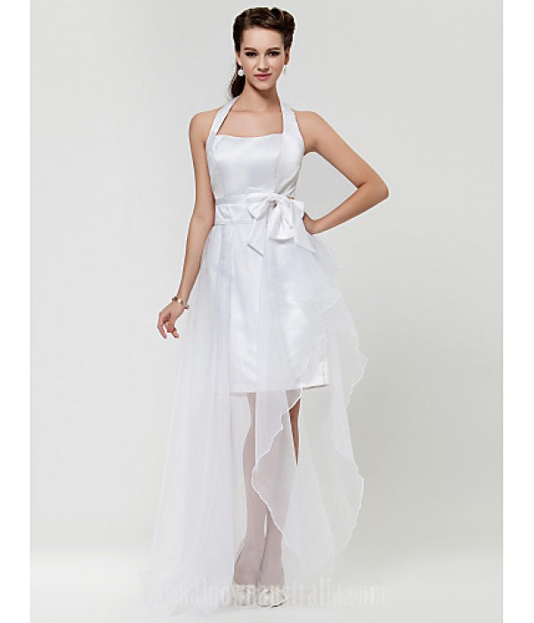 Wedding Party Dresses Homecoming Australia Formal Dresses Cocktail Dress Party Dress Graduation Prom Dress White A-line Halter Asymmetrical Satin Organza Formal Dress Australia